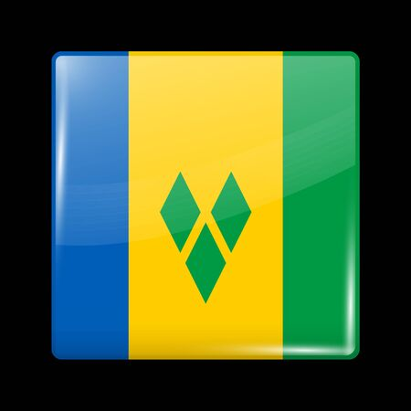 windward: Flag of Saint Vincent and the Grenadines. Glossy Icon Square Shape. This is File from the Collection Flags of North America Illustration
