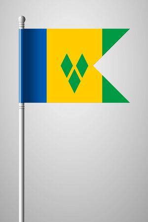 windward: Flag of Saint Vincent and the Grenadines. National Flag on Flagpole. Isolated Illustration on Gray Background