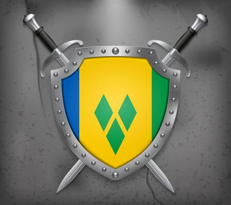 windward: Flag of Saint Vincent and the Grenadines. The Shield Has Flag Illustration. Two Crossed Swords that are Behind the Shield. Vector Medieval Background