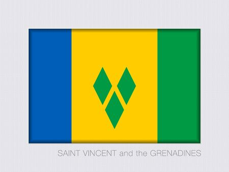 windward: Flag of Saint Vincent and the Grenadines. Rectangular Official Flag. Aspect Ratio 2 to 3. Under Gray Cardboard with Inner Shadow