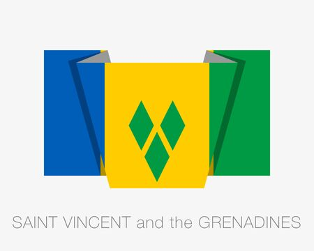 Flag of Saint Vincent and the Grenadines. Flat Icon Wavering Flag with Country Name on a White Background