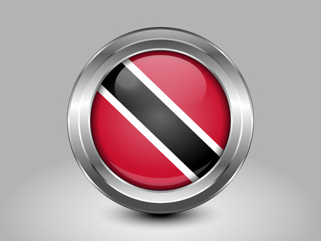 trini: Flag of Trinidad and Tobago. Metal and Glass Round Icon. This is File from the Collection North America Flags