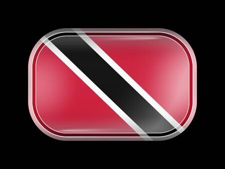 trini: Flag of Trinidad and Tobago. Rectangular Shape with Rounded Corners. This Flag is One of a Series of Glass Flag Icons Illustration