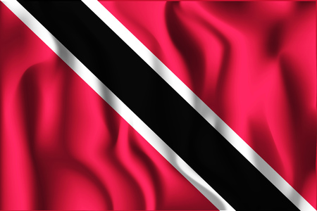 trini: Flag of Trinidad and Tobago. Rectangular Shaped Icon with Wavy Effect. Aspect Ratio 2 to 3 Illustration