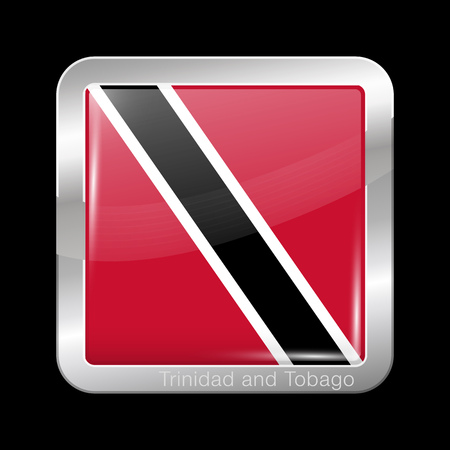 trini: Flag of Trinidad and Tobago. Metal Icon Square Shape. This is File from the Collection Flags of North America