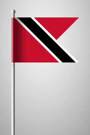 trinidadian: Flag of Trinidad and Tobago. National Flag on Flagpole. Isolated Illustration on Gray Background Illustration