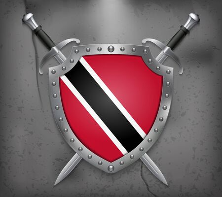 trini: Flag of Trinidad and Tobago. The Shield Has Flag Illustration. Two Crossed Swords that are Behind the Shield. Vector Medieval Background Illustration