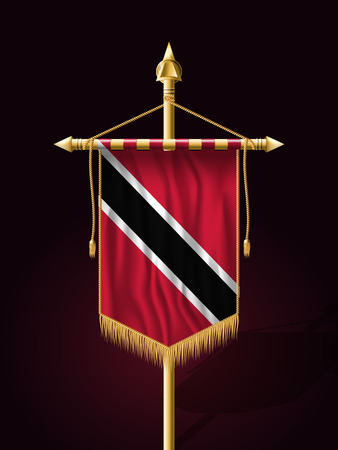 trini: Flag of Trinidad and Tobago. Festive Vertical Banner with Flagpole. Wall Hangings with Gold Tassel Fringing