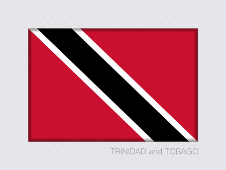 trini: Flag of Trinidad and Tobago. Rectangular Official Flag. Aspect Ratio 2 to 3. Under Gray Cardboard with Inner Shadow