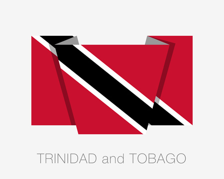 trini: Flag of Trinidad and Tobago. Flat Icon Wavering Flag with Country Name on a White Background