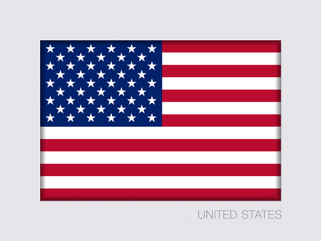 Flag of United States of America. American Flag. Rectangular Official Flag. Aspect Ratio 2 to 3. Under Gray Cardboard with Inner Shadow