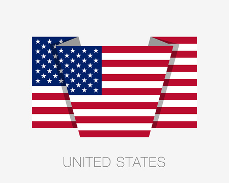 wavering: Flag of United States of America. American Flag. Flat Icon Wavering Flag with Country Name on a White Background Illustration