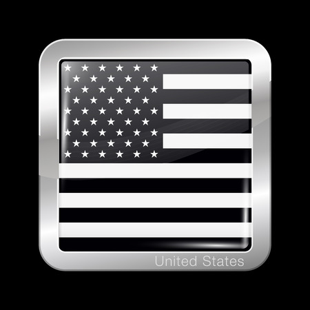 Black and White American Flag. Metal Icon Square Shape. This is File from the Collection Flags of North America