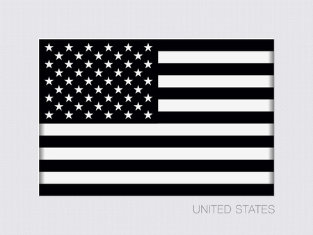 Black and White American Flag. Aspect Ratio 2 to 3. Under Gray Cardboard with Inner Shadow