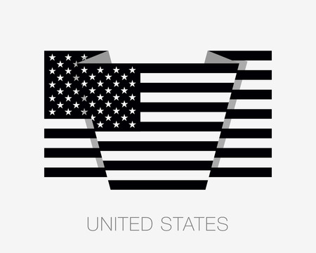wavering: Black and White American Flag. Flat Icon Wavering Flag with Country Name on a White Background