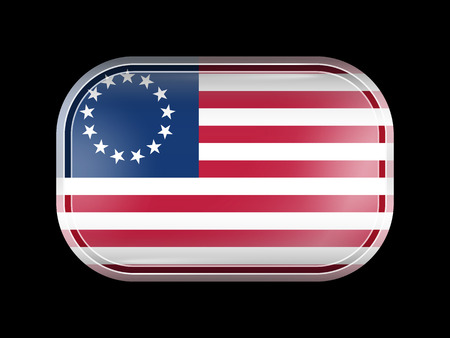 American Betsy Ross Flag. Rectangular Shape with Rounded Corners. This Flag is One of a Series of Glass Flag Icons