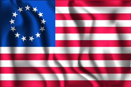 American Betsy Ross Flag. Rectangular Shaped Icon with Wavy Effect. Aspect Ratio 2 to 3 Ilustrace