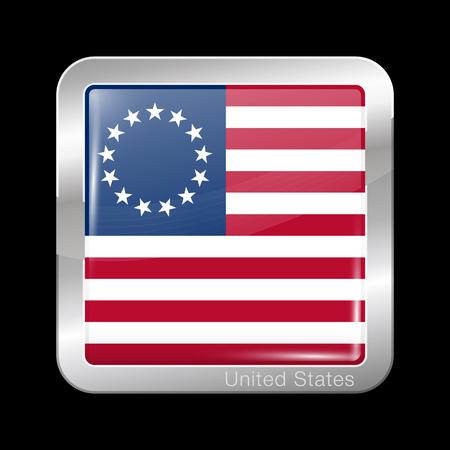 Amerikaanse Betsy Ross-vlag. Metalen pictogram vierkante vorm. Dit is het bestand van de verzameling vlaggen van Noord-Amerika Stock Illustratie