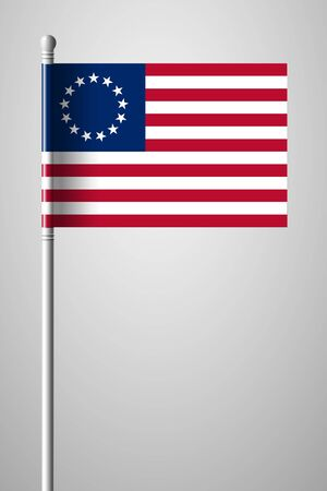 American Betsy Ross Flag. National Flag on Flagpole. Isolated Illustration on Gray Background