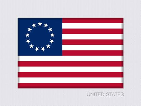 American Betsy Ross Flag. Aspect Ratio 2 to 3. Under Gray Cardboard with Inner Shadow Çizim