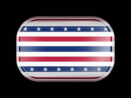 星条旗の旗。角の丸い長方形。このフラグは、シリーズのガラスのフラグ アイコンの一つです。