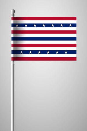 Stars and Stripes Flag. Flag on Flagpole. Isolated Illustration on Gray Background