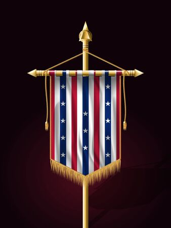 Stars and Stripes Flag. Festive Vertical Banner with Flagpole. Wall Hangings with Gold Tassel Fringing
