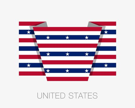Stars and Stripes Flag. Flat Icon Wavering Flag with Country Name on a White Background