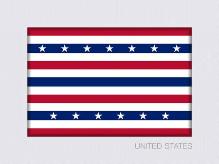 Stars and Stripes Flag. Aspect Ratio 2 to 3. Under Gray Cardboard with Inner Shadow