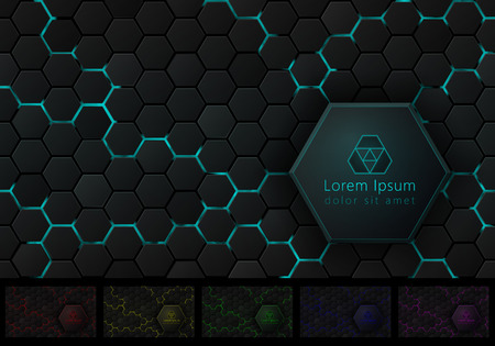 Hexagonal Background with Pace for Your Logo and Slogan Six Isolated Variants of Color Scheme