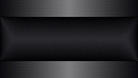 Abstract Technology Background with Metal Grid. Vector Banner with Space for Your Text or Slogan