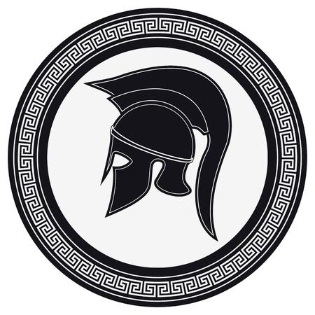 hoplite: Ancient Greek Helmet with a Crest on the Shield on a White Background. Silhouette Spartan Helmet. Vector Roman Helmet