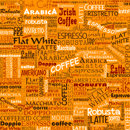 cappucino: Coffee Words Seamless Background
