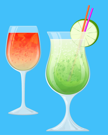 Two Fruit Cocktails in Transparent Glasses