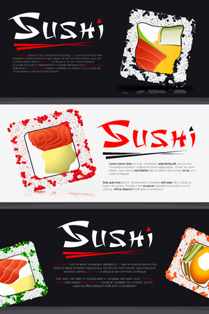 resolutions: Japanese Food on Black Background and Stylized Inscription Sushi