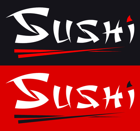 Sushi Calligraphy Inscription and Chopsticks. Logo of Japanese Food Illustration
