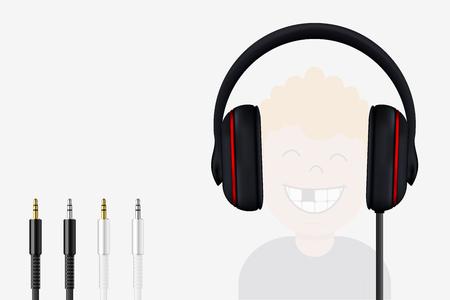 plait: Headphone and Mini Jack Plugs. Joyful Boy Listening to Music