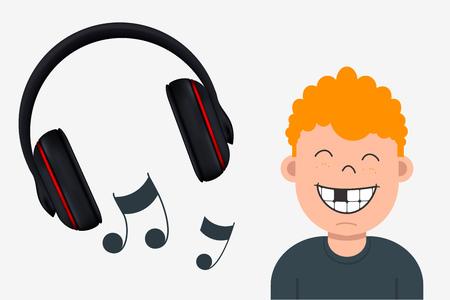 Muchacho alegre con el diente que falta Tocando la música. Auriculares y notas musicales Foto de archivo - 81376595