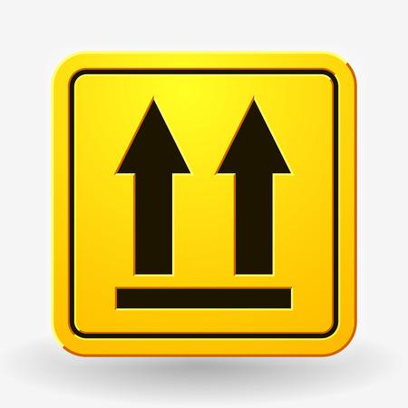 Ta ikona boczna. Ta droga w górę Zarejestruj. Symbol opakowania do dostawy ładunku