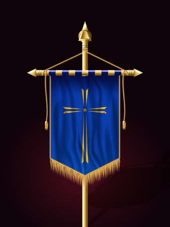 roman catholic: Festive Banner Vertical Flag with Religious Cross. Wall Hangings with Gold Tassel Fringing. Has Save Space for Inscription or Logo.