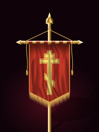 Festive Banner Vertical Flag with Religious Cross. Wall Hangings with Gold Tassel Fringing. Has Save Space for Inscription or Logo.