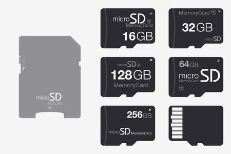 Micro SD에서 SD 메모리 카드 어댑터로 위로보기. 흰색 배경에 고립 된 메모리 칩 일러스트