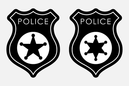 Badge de police Signe monochrome simple. Illustration vectorielle isolé sur fond blanc Banque d'images - 84625154