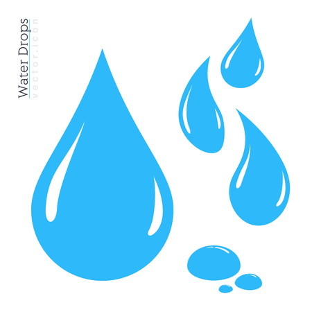 Water Drop Icon Set. Vector Raindrop Silhouette. Design Elements Illustration