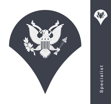 Grades militaires et insignes. Stripes et Chevrons of Army. Spécialiste Banque d'images - 86097255