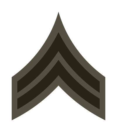 corps: Military Ranks and Insignia. Stripes and Chevrons of Army. Corporal Illustration