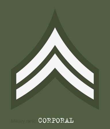 軍のランクおよび記章。ストライプと軍の山形。伍長