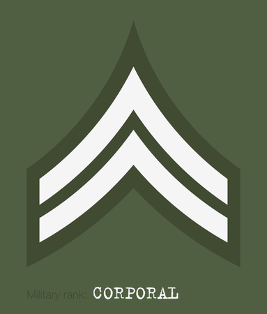 Military Ranks and Insignia. Stripes and Chevrons of Army. Corporal Illustration