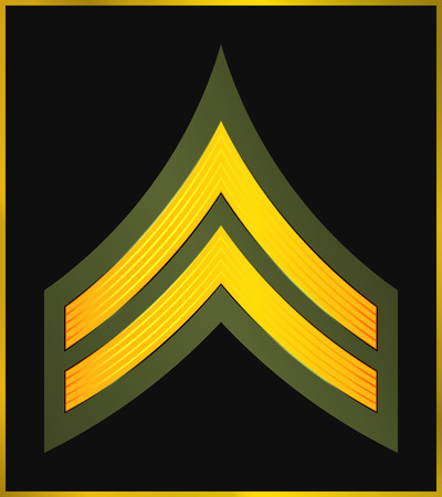 Military Ranks and Insignia. Stripes and Chevrons of Army. Corporal  イラスト・ベクター素材