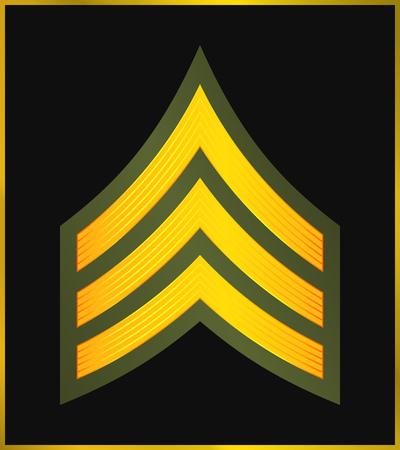 軍のランクおよび記章。ストライプと軍の山形。軍曹  イラスト・ベクター素材